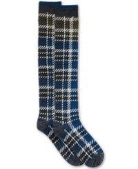 Hue Women's Blocked Plaid Knee Socks Thunder