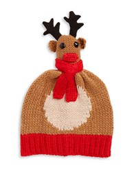 Collection 18 Knit Reindeer Hat Brown