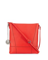 Charles Jourdan Nira Laser Cut Leather Crossbody Bag Red