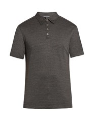 John Varvatos Short Sleeved Silk And Cotton Blend Polo Shirt Grey