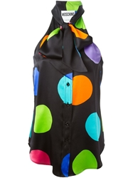 Moschino Polka Dot Sleeveless Blouse Black