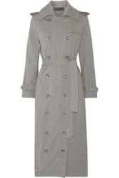 Norma Kamali Cotton Blend Trench Coat Anthracite