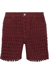 Isabel Marant Pace Broderie Anglaise Denim Shorts Red