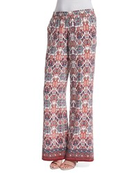 Joie Aryn Folkloric Printed Silk Pants Women's Size L Burnt Coral