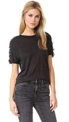 Steiro Lace Up Tee Black