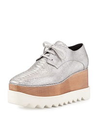 Textured Faux Leather Wedge Oxford Silver Stella Mccartney