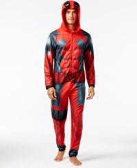 Briefly Stated Men's Deadpool Hooded Jumpsuit Pajamas Red