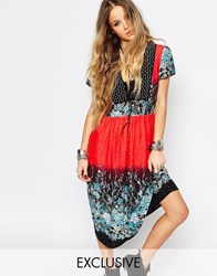 Reclaimed Vintage Eyelet Front Tea Dress In Mixed Festival Floral Multi