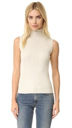 525 America Variegated Rib Sleeveless Turtleneck Sweater French Vanilla