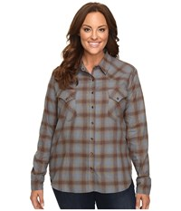 Stetson Plus Size Steal Blue Plaid Western Shirt Blue Women's Clothing
