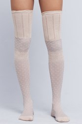 Anthropologie Over The Knee Textured Socks Silver