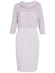Gina Bacconi Moss Crepe Dress With Lace Overtop Orchid Mist