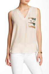 Pink Owl Woven Sequin Blouse White