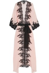Rosamosario Classica Bellezza Chantilly Lace Trimmed Silk Georgette Robe Blush