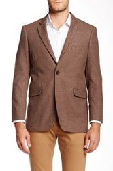 Us Polo Assn. Brown Houndstooth Modern Fit Two Button Notch Collar Double Vent Sport Coat