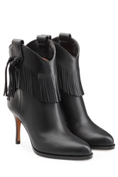 Valentino Leather Boots With Fringe Black
