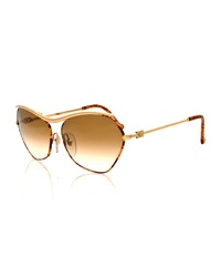 Christian Lacroix Vintage Twist Arm Sunglasses Gold Tortoise