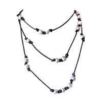 Dripping In Gems Pearl On Leather Cord Lariat Multi