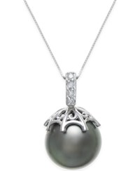 Macy's Cultured Black Tahitian Pearl 13Mm And Diamond Accent Pendant Necklace In 14K White Gold Gray