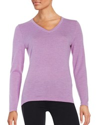Lord And Taylor Merino Wool V Neck Sweater Fressia Heather
