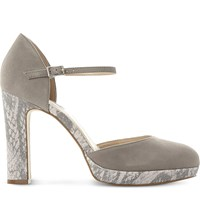 Dune Chia Suede Snake Print Platform Court Shoes Grey Suede