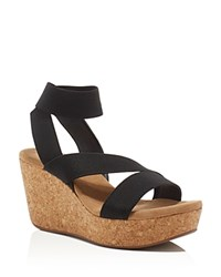 Splendid Gavin Cork Platform Wedge Sandals Black