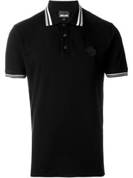 Just Cavalli Striped Collar Polo Shirt Black