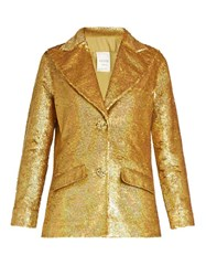 Ashish Sequin Embellished Single Breasted Cotton Jacket Gold
