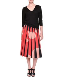 Bottega Veneta Inverted Pleat Bubble Print Midi Skirt Black Red Orange