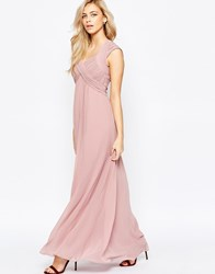 Little Mistress Crossover Empire Maxi Dress Pink