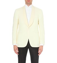 Canali Single Breasted Wool And Mohair Blend Jacket White