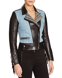 Barbara Bui Denim Inset And Fringe Trim Leather Jacket Black