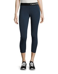Calvin Klein Logo Cropped Leggings Indigo Heather