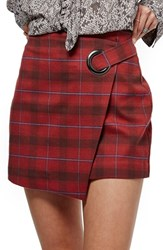 Free People Women's Teenage Crush Plaid Miniskirt Red Combo