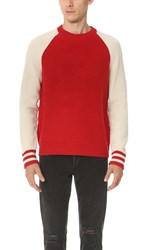 Rag And Bone Liam Crew Sweater Red