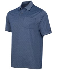 Greg Norman For Tasso Elba Men's Diamond Jacquard Golf Polo Blue Socket
