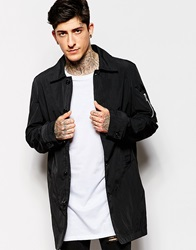 Asos Lightweight Trench Coat With Ma1 Pocket In Black