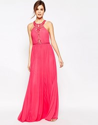 Forever Unique Saffron Beaded Halterneck Maxi Dress Watermelon