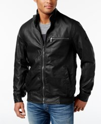 Inc International Concepts Men's Varsity Faux Leather Zip Front Jacket Only At Macy's Black