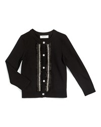 Milly Minis Embellished Button Front Cardigan Black