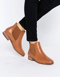 London Rebel Classic Flat Chelsea Boots Tan Pu