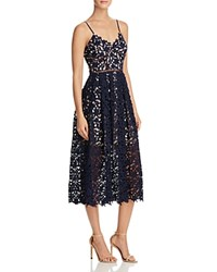 Aqua Lace Cami Midi Dress Navy