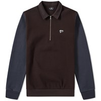 Patta Sports Pique Half Zip Sweater Brown