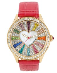 Betsey Johnson Ladies Multi Color Crystal Dial Watch Pink