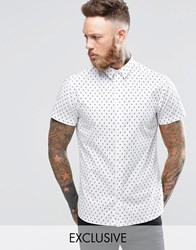 Noose And Monkey Short Sleeve Shirt With All Over Skull Print White