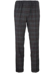 Alberto Biani Plaid Tapered Cropped Trousers Grey