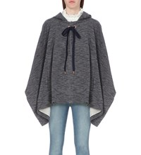 See By Chloe Hooded Knitted Poncho Ink