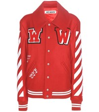 Off White Embroidered Virgin Wool Blend Varsity Jacket