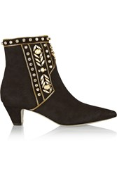 Rene Caovilla Embellished Suede Ankle Boots
