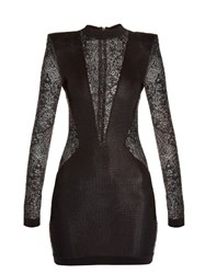 Balmain Lace Insert Mini Dress Black